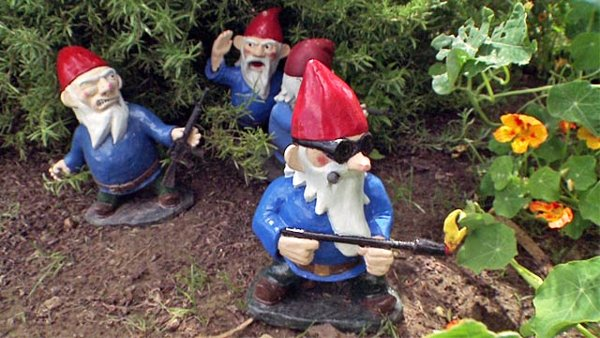 Garden Gnomes With Guns gnomes concealed lethal arms cache